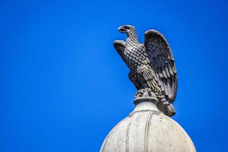 The eagle atop the Civil War memorial constantly keeping a watch over Arlington Center. June 27, 2014.