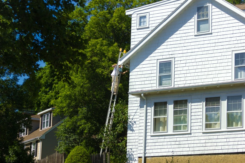 A man high up on a ladder painting his Lansdowne Road home. June 20, 2014.