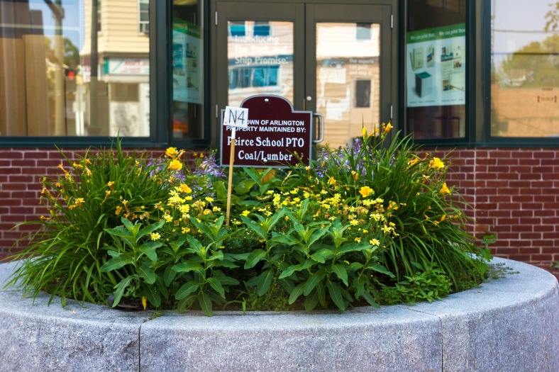 A large stone planter, apparently planter N4, on the corner of Massachusetts Avenue and Park Avenue. July 7, 2014.