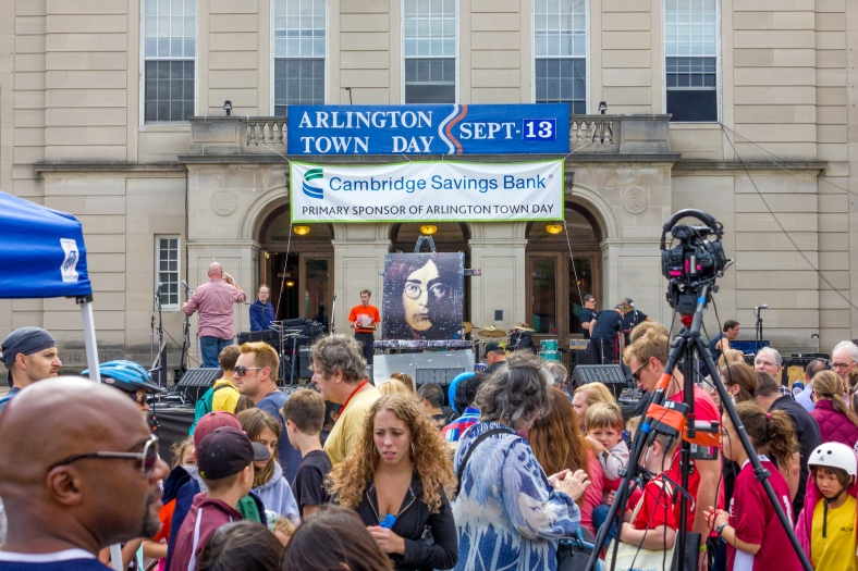John Lennon made an appearance on the main stage at the 2014 Town Day festivities by way of Rob Surette's Amazing Hero Art. September 13, 2014.