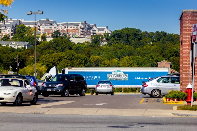 A delivery trailer from a local dairy parked in the lot of the local supermarket. September 26, 2014.