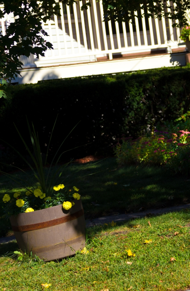 Flowers in a decorative wooden tub on the front lawn of a Park Avenue home. September 26, 2014.