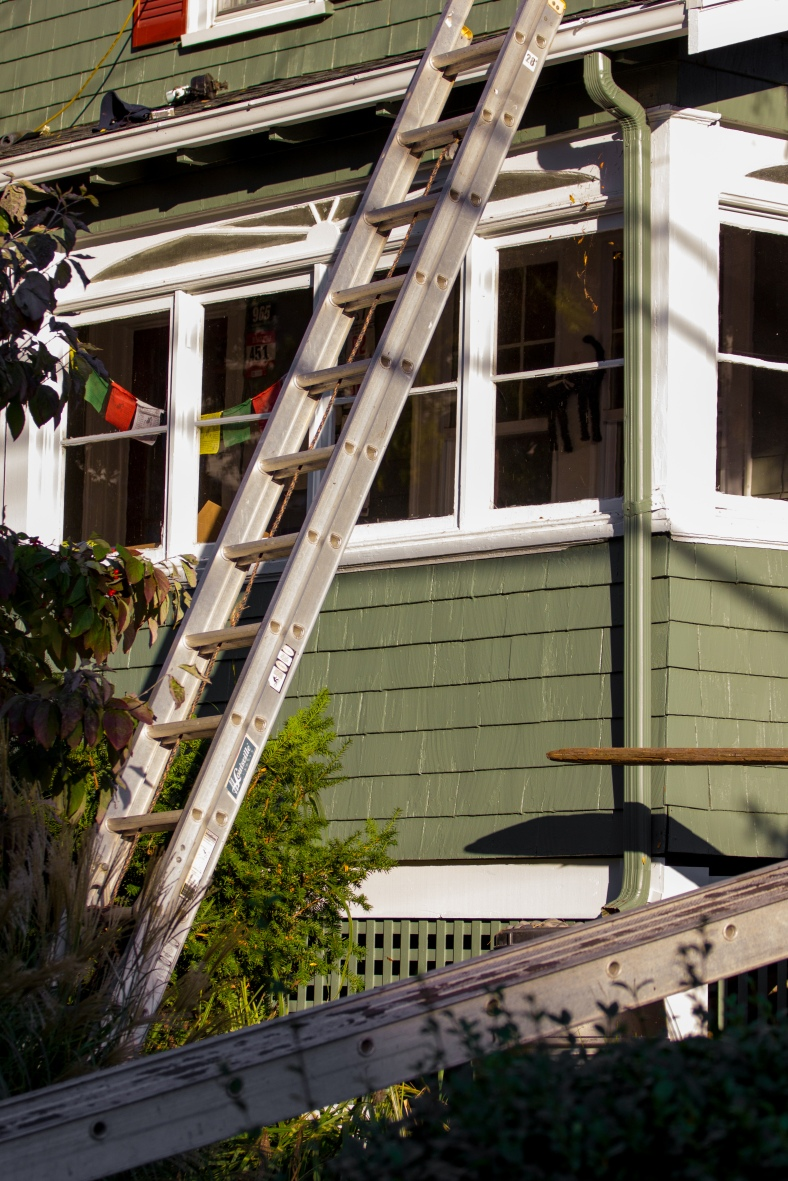 Ladders in use at a Ronald Road home. October 17, 2014.