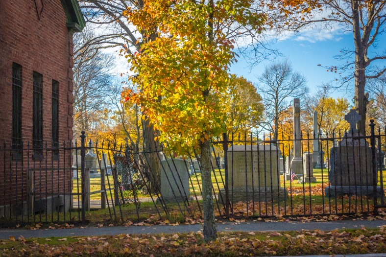 A broken fence adjacent the maintenance building at St. Paul Cemetery in East Arlington. November 10, 2014.