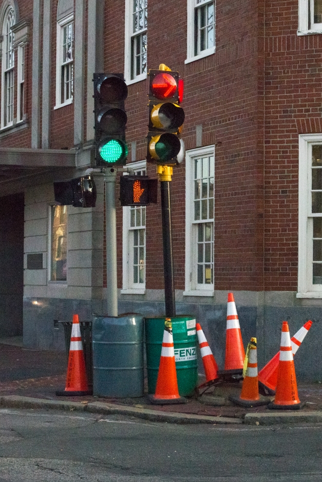 Replacement lights direct traffic after the arm holding the above-street traffic signals fell over in late October. November 10, 2014.