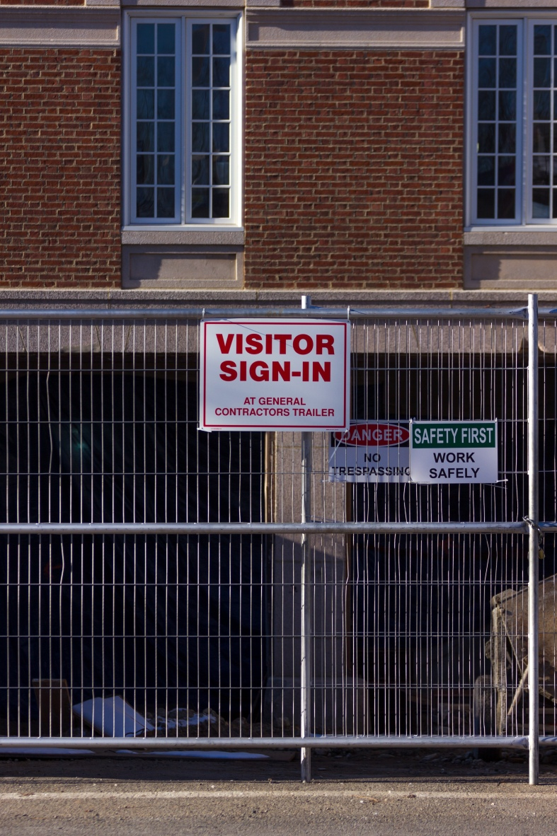 A sign directs visitors of the Central Fire Station where to go. November 29, 2014.