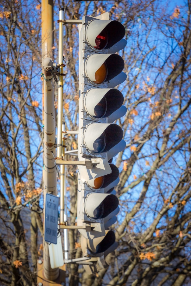 Traffic lights at what is perhaps Arlington's busiest intersection—route 60 and Massachusetts Avenue. November 29, 2014.