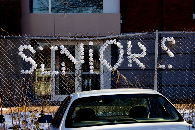 Arlington Catholic seniors left their mark on the fence behind the high school in Arlington Center. November 29, 2014.