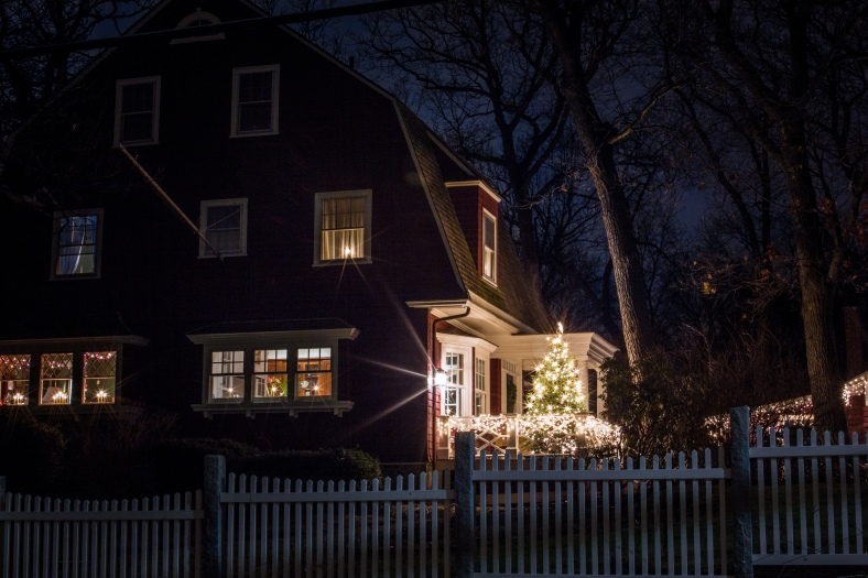 A Christmas tree on the porch of a Gray Street home. December 20, 2014.