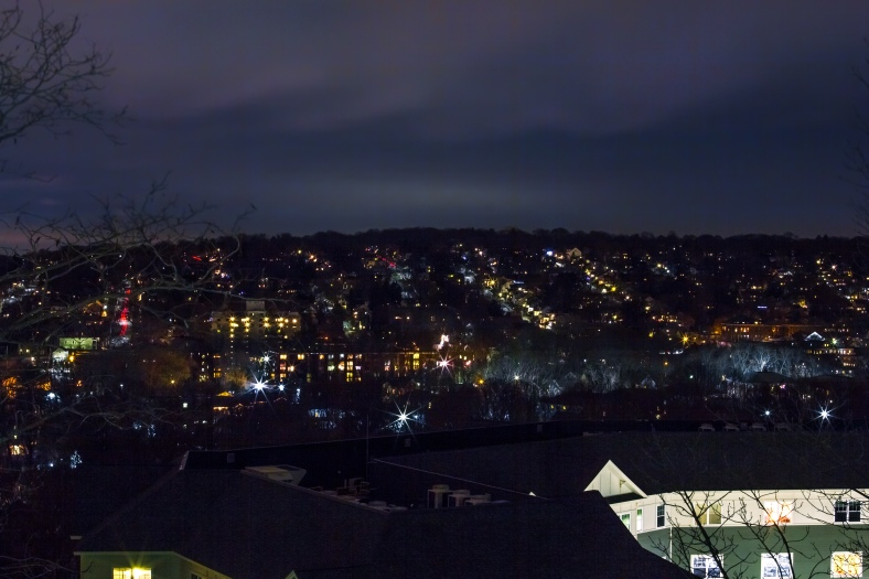A southwesterly view from Hattie Symmes Park at Arlington 360 shows the grid of streets that blanket the hill. December 20, 2014.