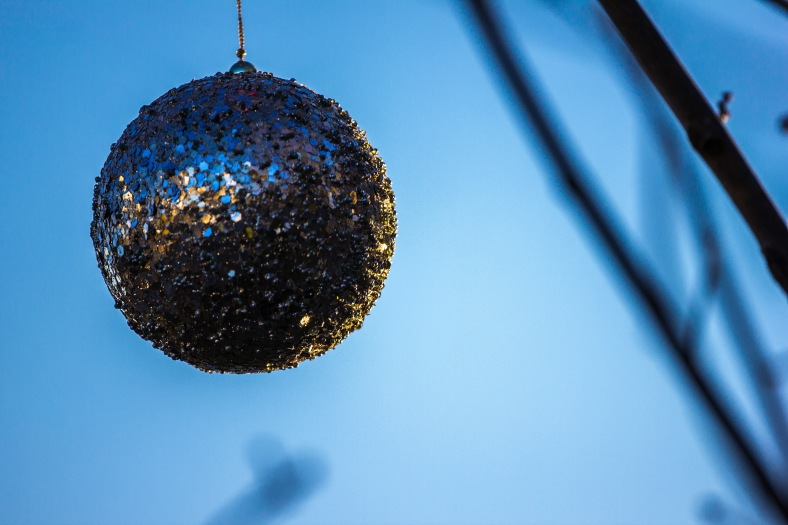A decorative ornament hanging from a Hemlock Street tree. December 26, 2014.