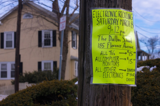 A sign advertising a time to recycle old electronics at the Dallin Elementary School. March 08, 2014.
