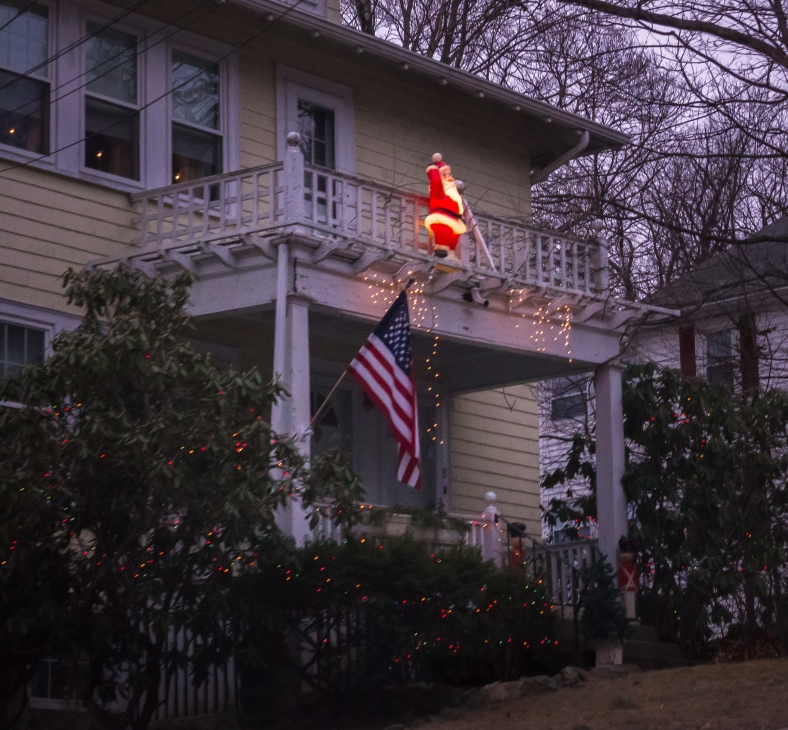 A Santa decoration seen on one of the final twelve days of Christmas, at a home on Pine Ridge Road. January 03, 2015.