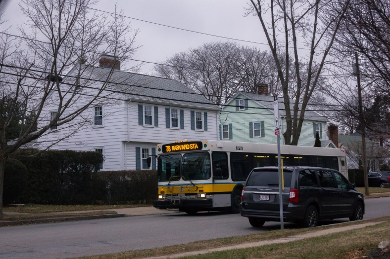 The bus makes it way down Wachusett Avenue. January 03, 2015.