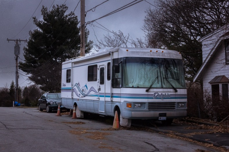 "A ""Dolphin"" recreational vehicle parked on HIllside Avenue next to the St. Paul Lutheran Church.   January 03, 2015."