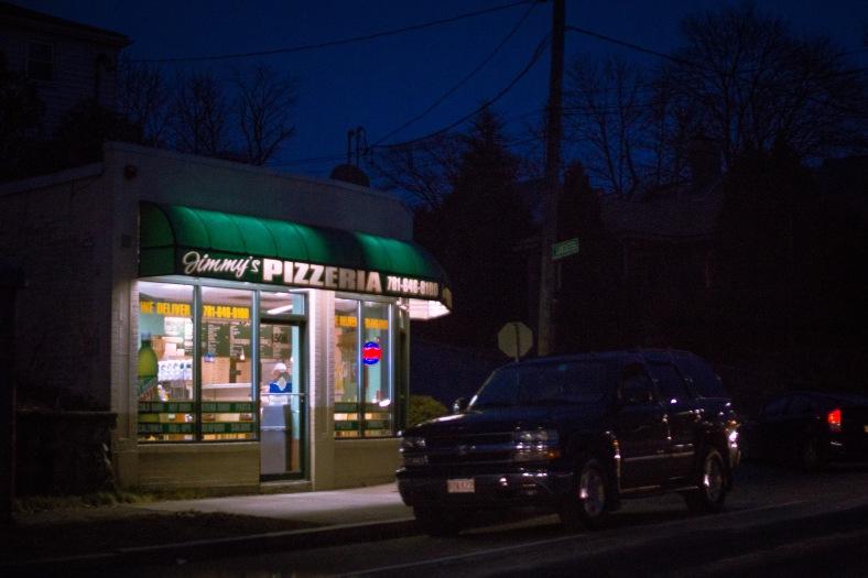 Jimmy's Pizzeria, mere feet from the Lexington border on Massachusetts Avenue. January 03, 2015.