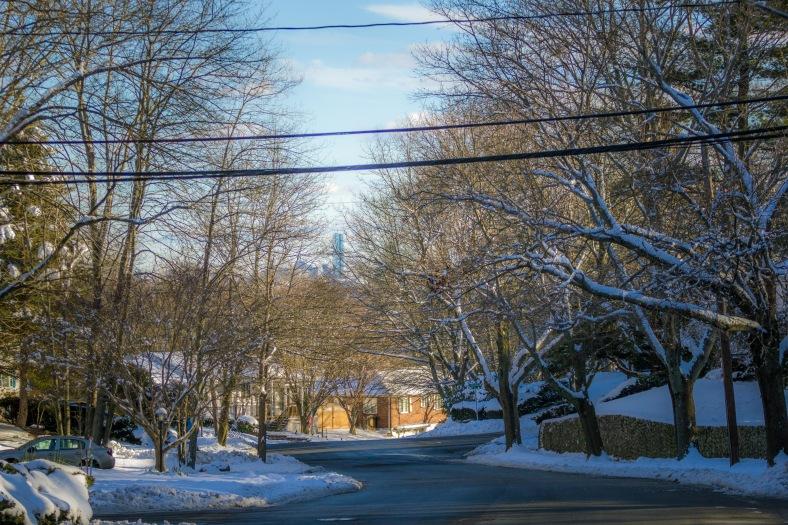 A view down a wintery Ridge Street towards Boston. January 25, 2015. SC