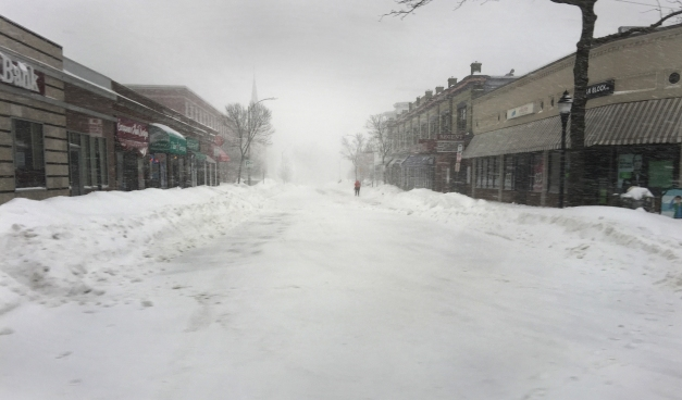 A nearly deserted Medford Street during an early February snowstorm. February 2, 2015.
