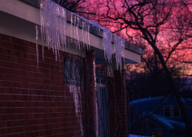 Icicles on the playground-side entrance to the M. Norcross Stratton School. February 10, 2015.