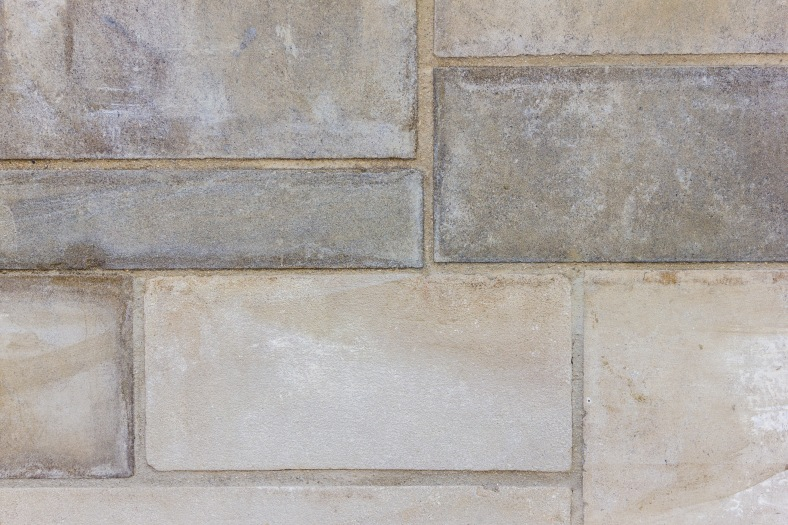 The redone stone wall along the side of the Robbins Library. September 12, 2013.