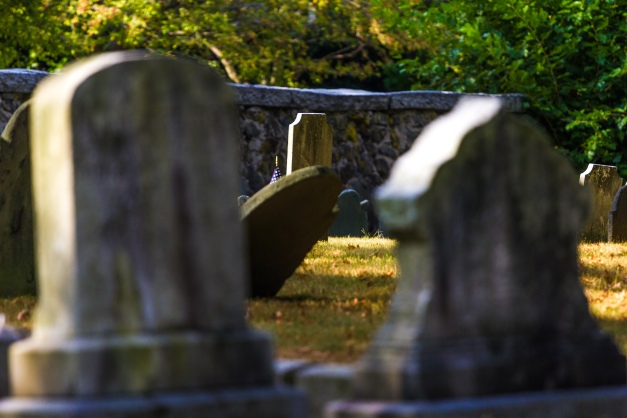Centuries old headstones in the Old Burying Ground. September 12, 2013.