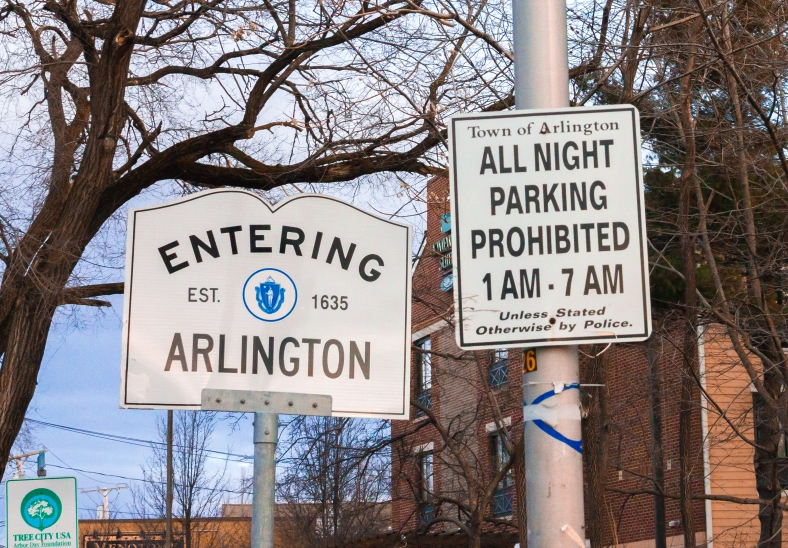 A preemptive effort to ensure that visitors to Arlington know the overnight parking bylaws. March 21, 2014.