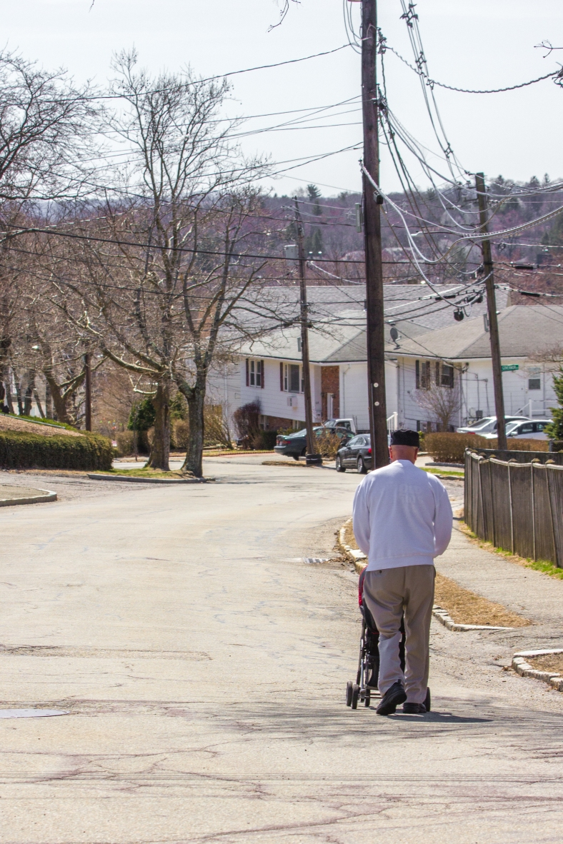 Out for a stroll down Hemlock Street on a pleasant spring day. April 12, 2014.