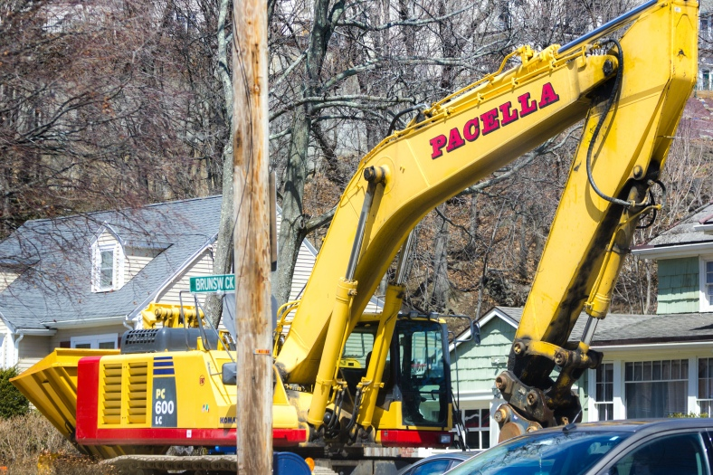 A large digger parked at the Brunswick Road delta. April 11, 2015. SC