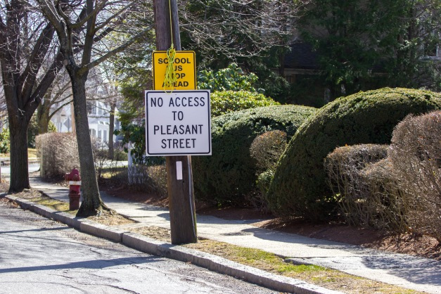 A sign warns of the closure of a popular route out to Pleasant Street via Jason Street. April 11, 2015.