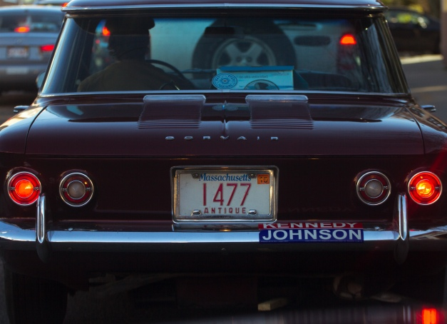 What looks to be a 1960 Corsair 700 Coupe shows support for the Kennedy Johnson ticket. May 02, 2015.