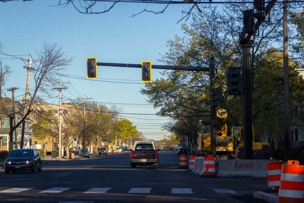 New traffic lights installed as part of the Massachusetts Avenue corridor project. May 02, 2015. SC