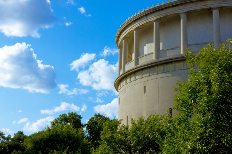 The classical inspired water tower holding 1,995,000 gallons of water 382 feet above sea level. August 08, 2014