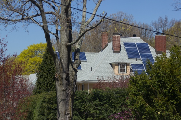 A house with solar panels as seen from Gray Street. May 02, 2015. SC