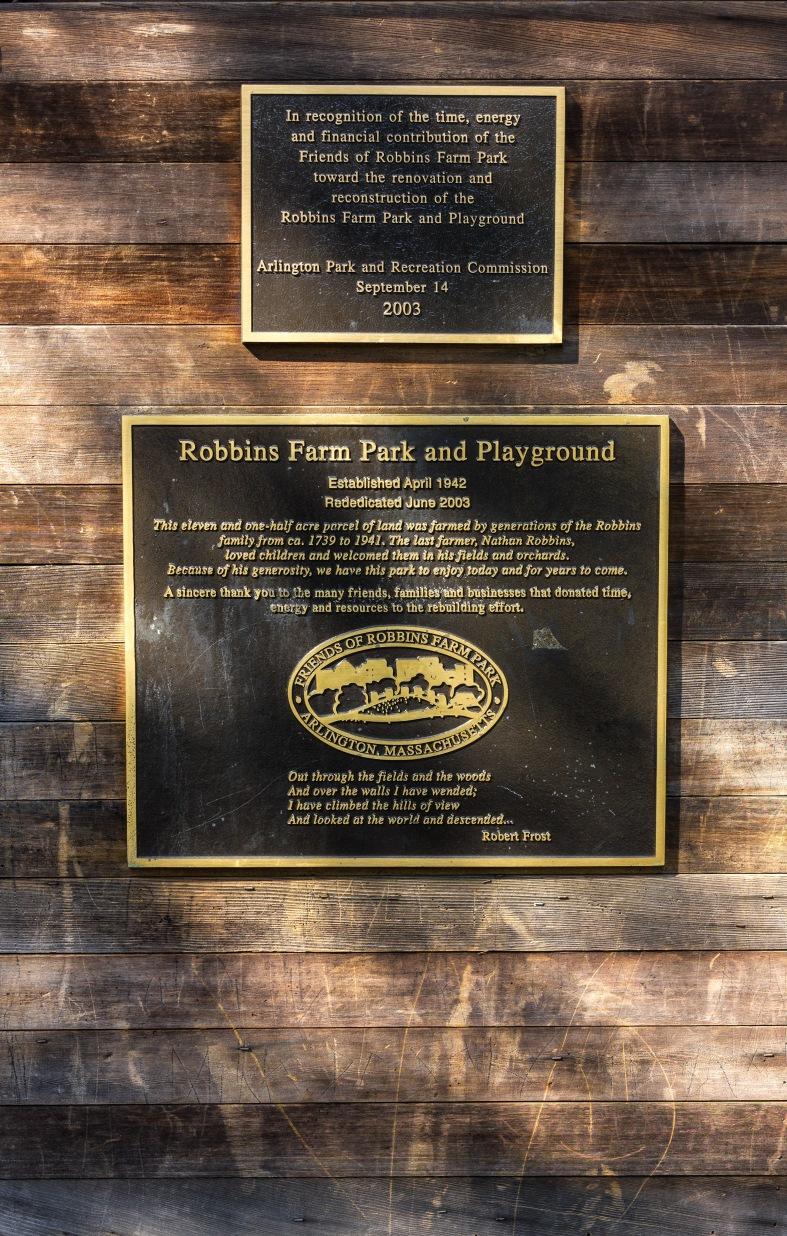 A plaque along the main path into Robbins Farm Park. May 30, 2015.