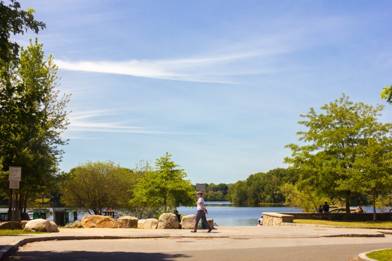 A woman walks at the banks of Spy Pond. June 07, 2015. SC