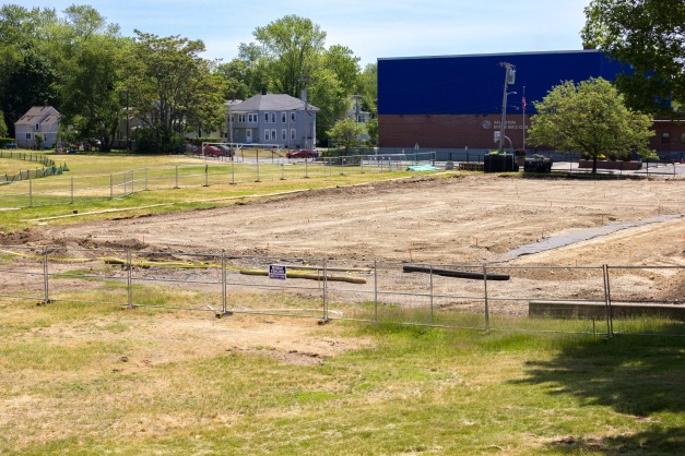 Construction of new tennis courts at Spy Pond field. June 07, 2015.