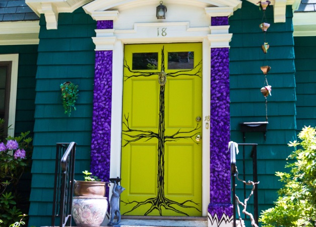 A colorfully painted front door to a home on Lombard Road. June 07, 2015. SC