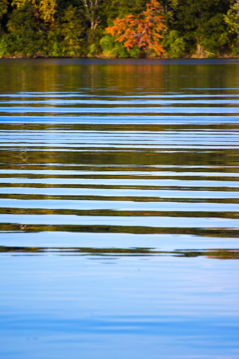 The wake of a passing jet ski on the Lower Mystic Lake. October 03, 2013.