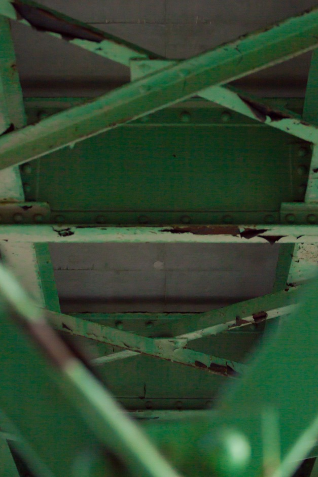 The steel of a bridge over that used to carry the Boston & Maine railroad over Brattle Street. November 15, 2013.
