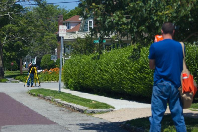 Surveyors survey on Wildwood Avenue. July 11, 2015. SC