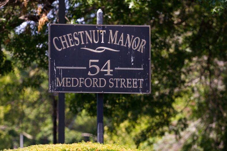 A sign for Chestnut Manor on Medford Street. July 11, 2015.