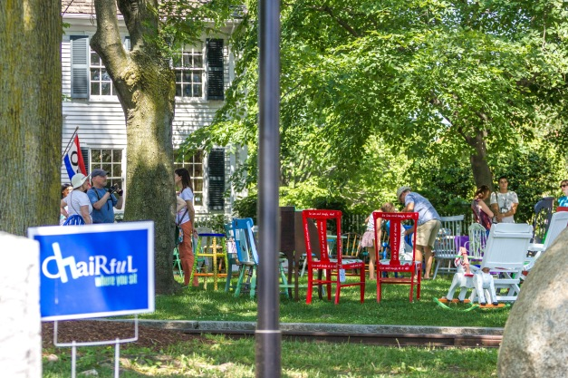 An art exhibition in Whittemore Park, the front lawn of the Jefferson Cutter House that houses the Cyrus E. Dallin Art Museum. July 11, 2015.