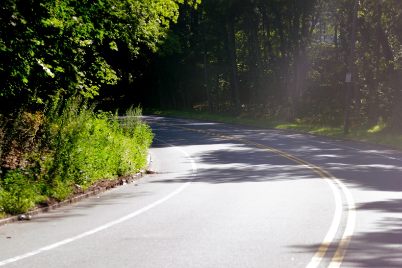 Sunlight and darkness at a bend of the Mystic Valley Parkway along the Lower Mystic Lake. August 05, 2015.