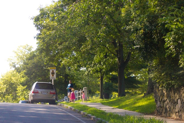 A family heads toward the van after some play time at Robbins Farm Park. August 05, 2015.