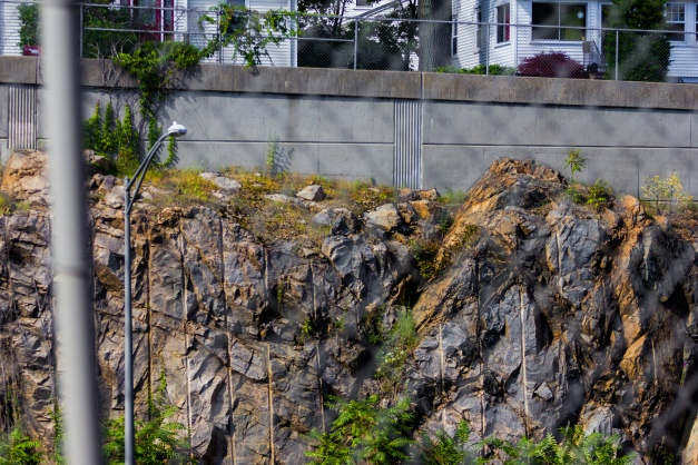 Just below frame, cars whiz through what was once solid rock, but is now a canyon-like section of Route 2. Above it all, Arlington homes along an exit ramp. August 05, 2015.