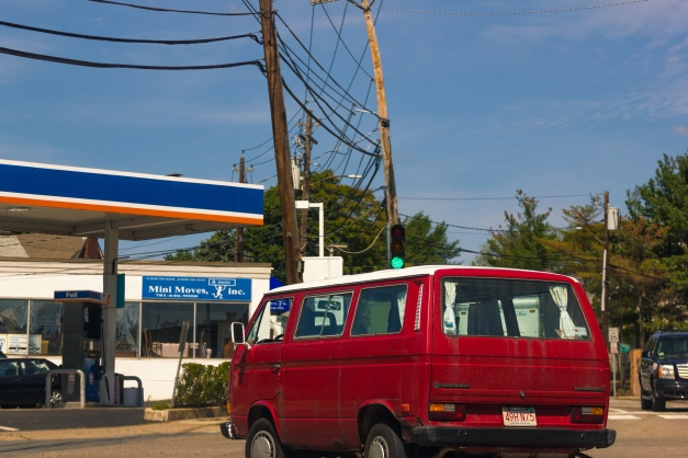 A VW Vanagon taking a turn onto Summer Street. August 29, 2015.