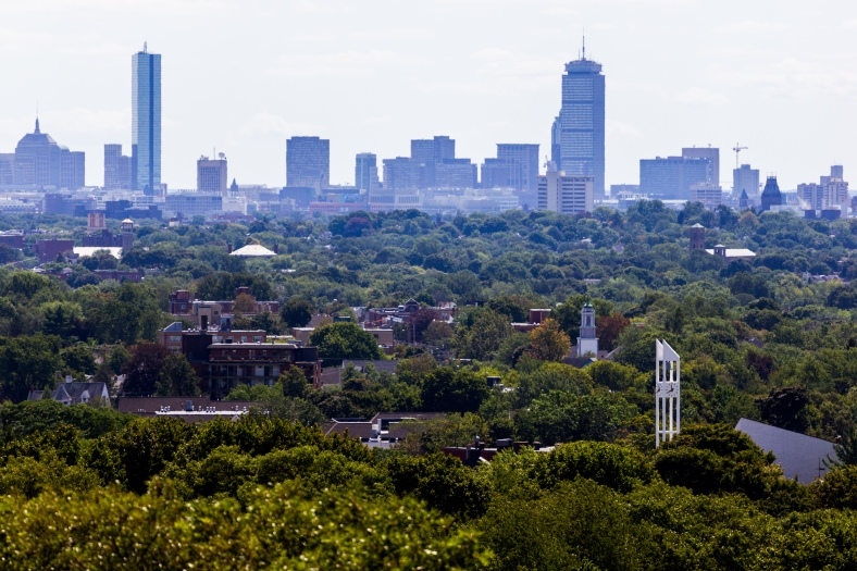 Arlington buildings poke through the trees in the foreground as the Boston skyline looms large past Cambridge. August 29, 2015.