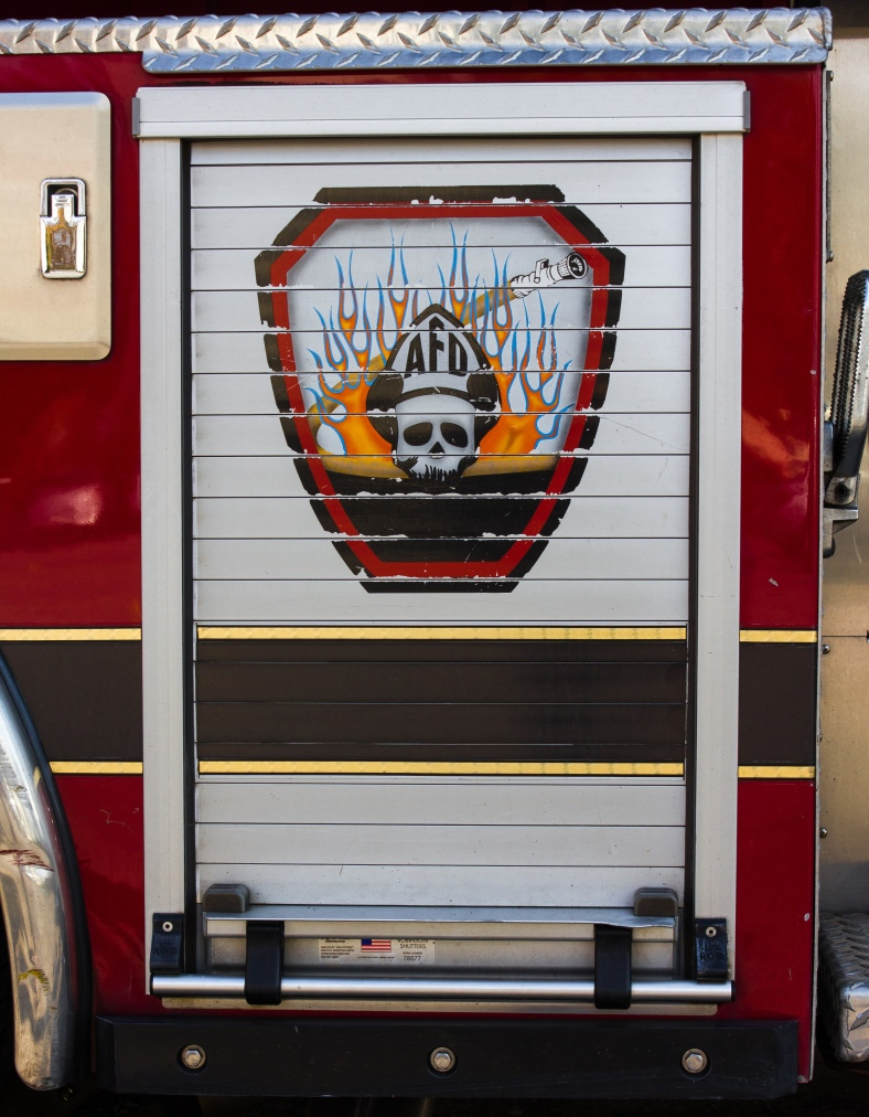 The logo on the side of an Arlington Fire Department firetruck. October 22, 2013.