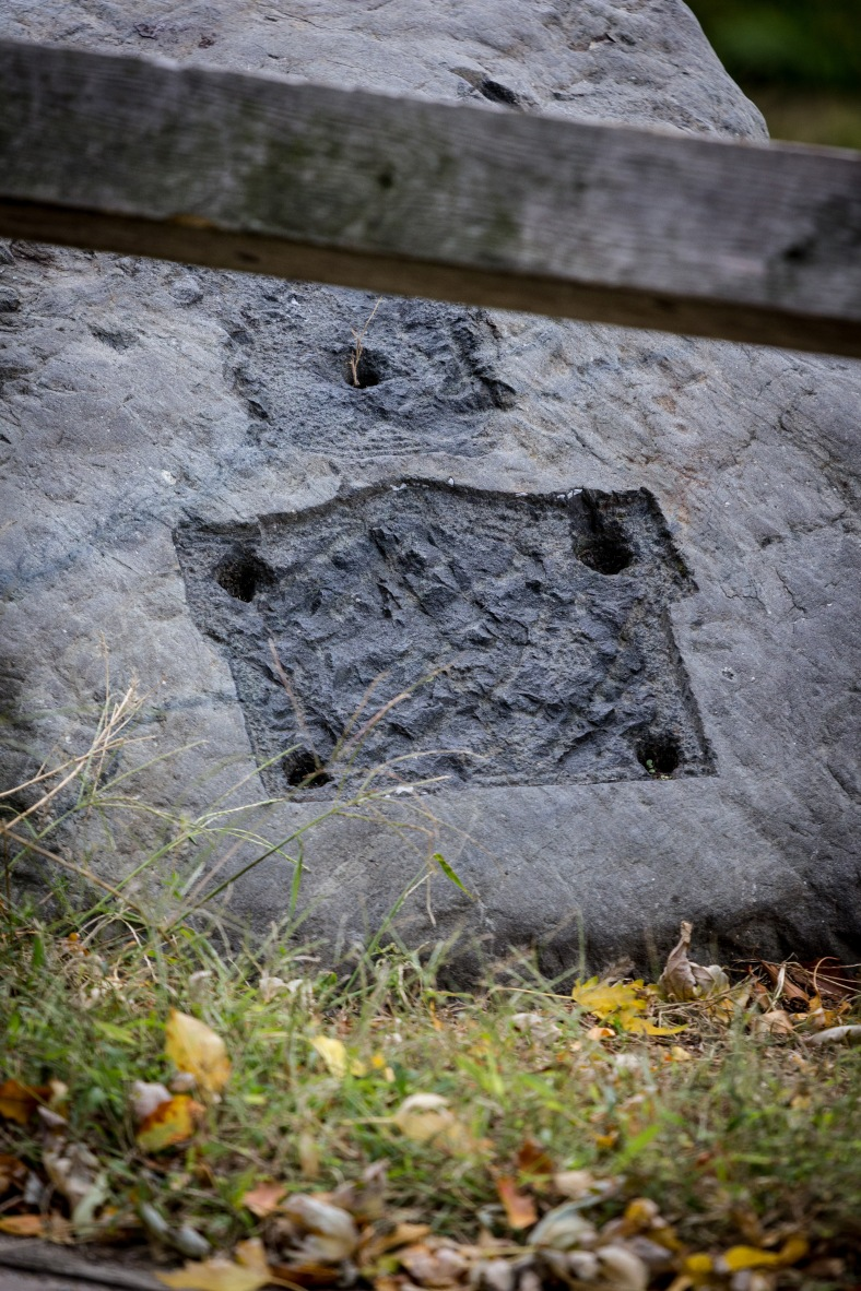 A stone along Pond Lane where once (and perhaps yet again) a plaque was set. October 04, 2015.