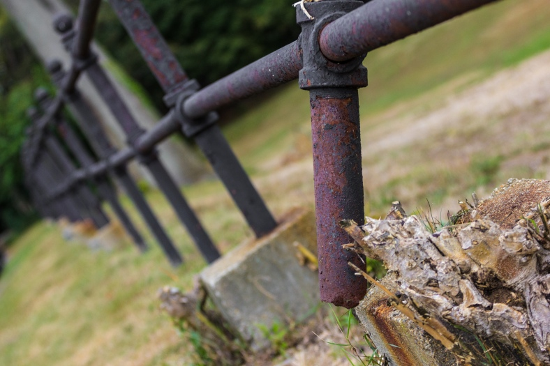 A fence post that has rusted through and snapped off along Lombard Terrace. October 04, 2015.